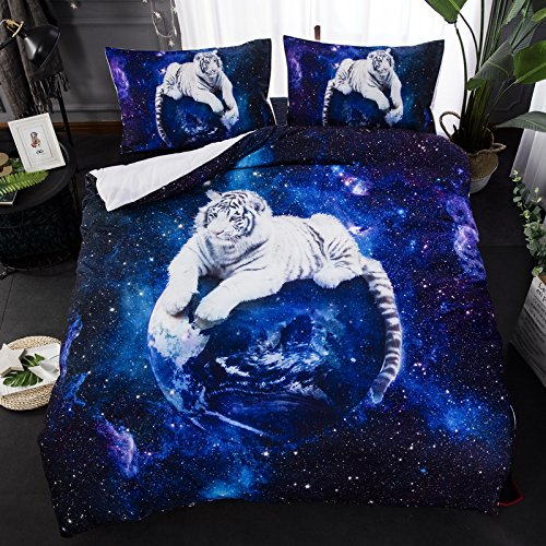 Suncloris,Galaxy White Tiger,3PC Bedding Sheet Set .Included:1Duvet Cover,2Pillowcase(no Comforter Inside) (Full/Queen