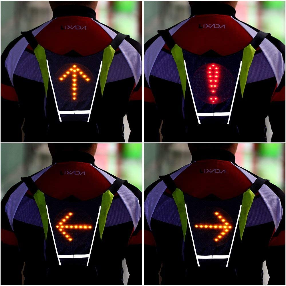 YOMERA Gilet di Sicurezza Riflettente a LED Gilet Riflettente per Maggiore visibilit/à e Sicurezza Gilet da Bicicletta USB con Indicatore di Direzione a LED Telecomando per Corridori di Bici Jogger