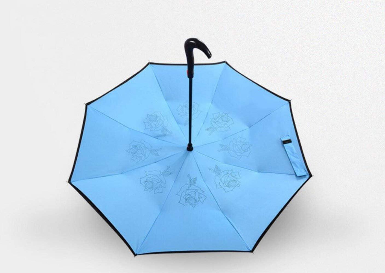 Multi-Color Optional YSLJH Umbrella Parasol Anti-UV Creative Reverse Umbrella Two-Color Solid Color Semi-Automatic Men and Women Car Umbrella Portable Color : Blue