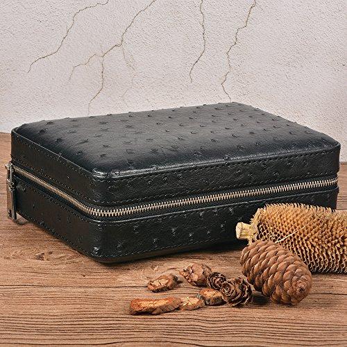 Portable Travel Cigar Case Leather Cigar Case Spanish Cedar Wood Portable Cigar Humidor, Cigar Box with Cigar Cutter and Humidifier for 4 Cigars by CigarHub (Image #1)