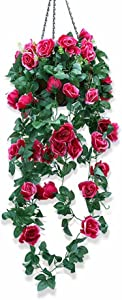 XHSP Artificial Rose Vine Silk Flower Garland Hanging Basket Decorative Plant for Home Outdoor Wedding Arch Garden Wall Decor