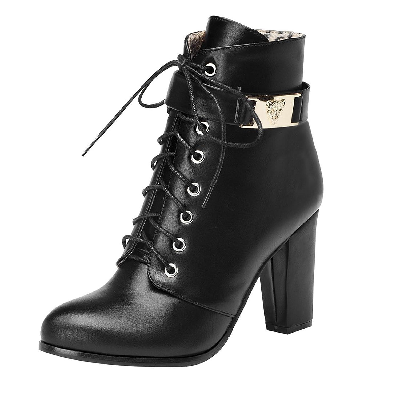 Damen Schnür Ankle Boots Blockabsatz Plateau High Heel Stiefeletten mit Fell  und Reißverschluss Warm Schuhe UH 793d62558e