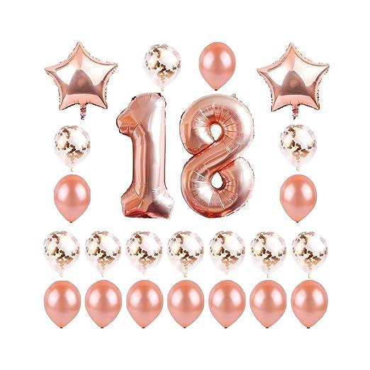 Amosfun 24 Piezas 18 cumpleaños Globos Aniversario látex ...