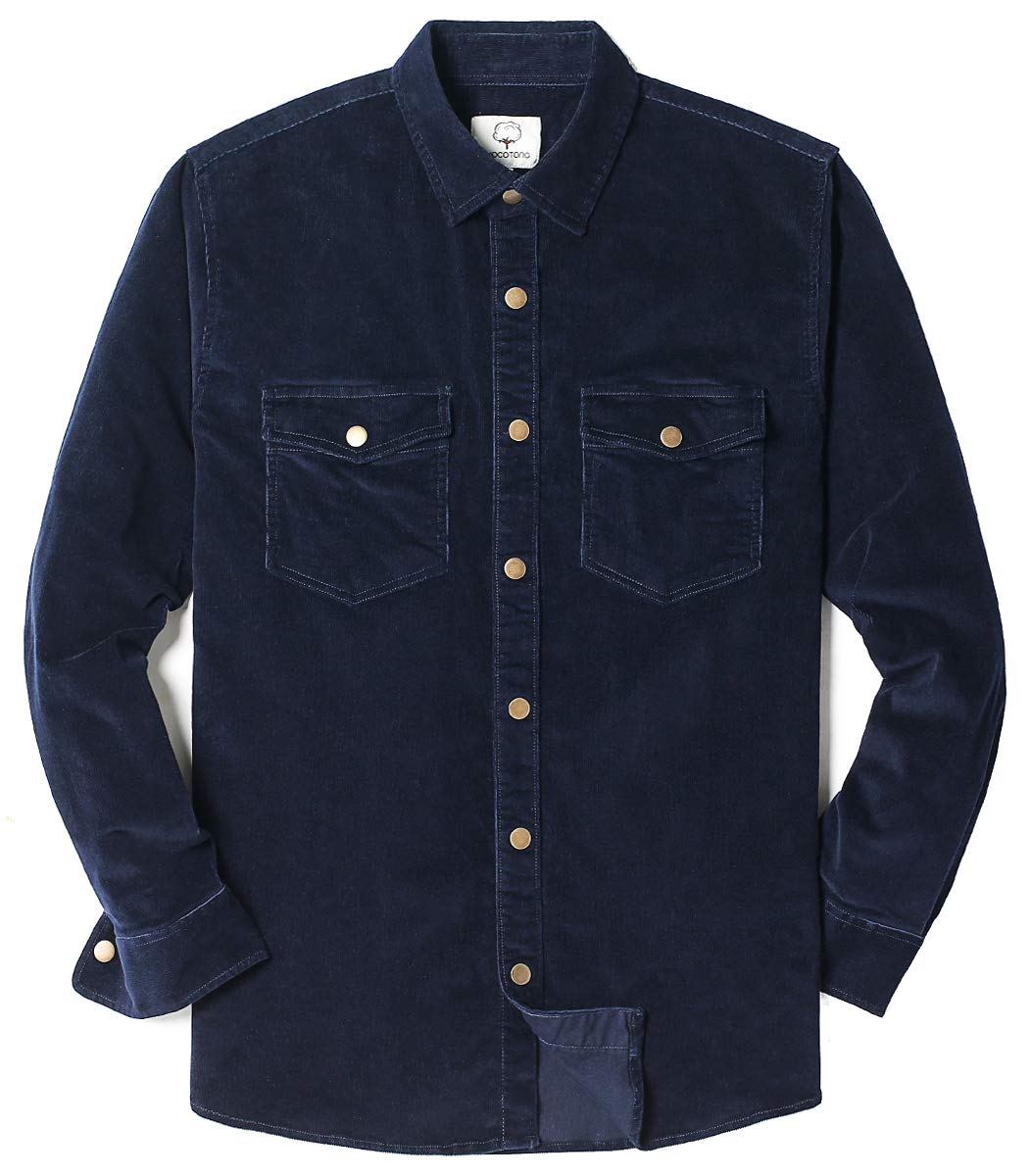 MOCOTONO Mens Long Sleeve Thick Corduroy Shirt Casual Button Down Jackets Navy Blue Large