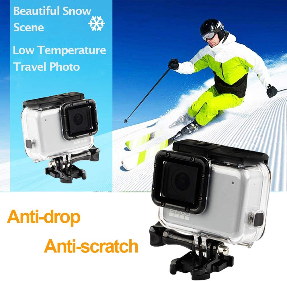Housing Case for Hero 7 Silver Waterproof Case Diving Protective Housing Shell 45m with Bracket Accessories for Go Pro Hero 7 White