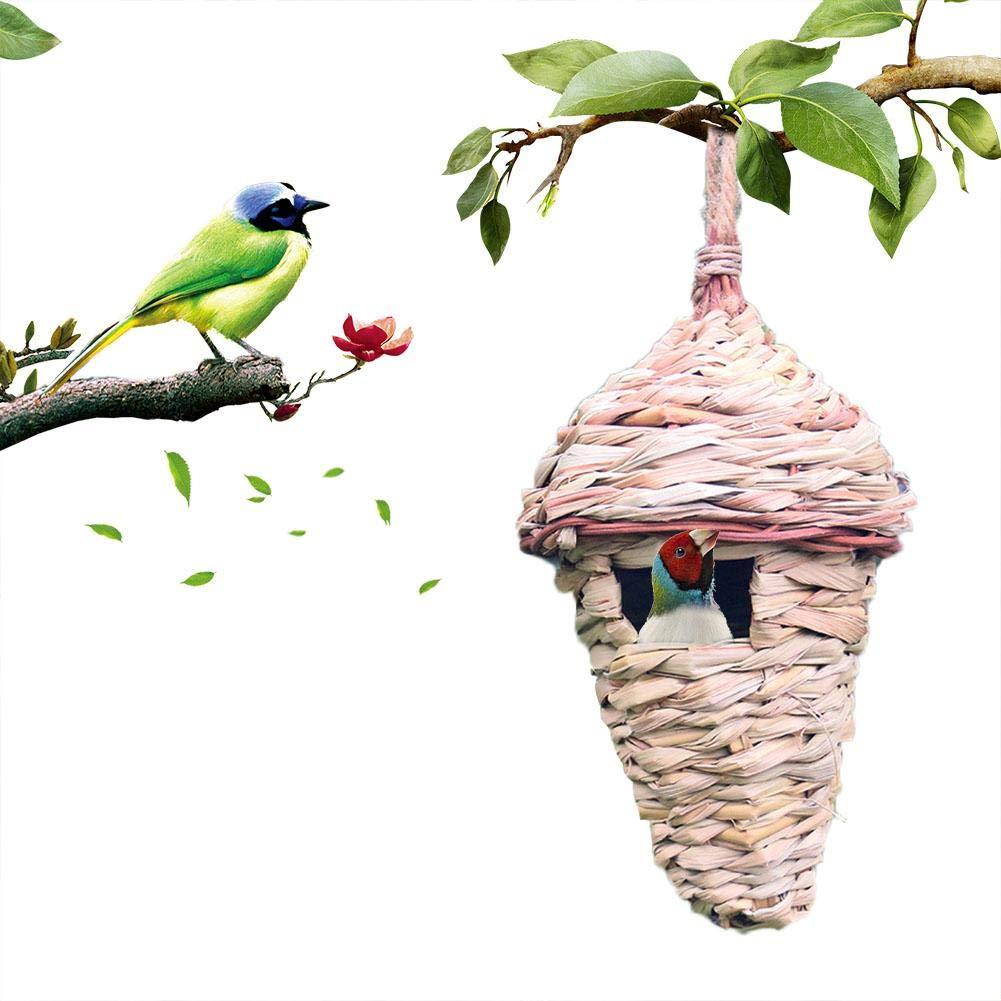 Ornamento del Jard/ín Casa De Jaula para Incubar Cueva De Cr/ía para Loro Canario O Cockatiel U Otras Aves navigatee Nido De P/ájaro De Paja Tejido A Mano