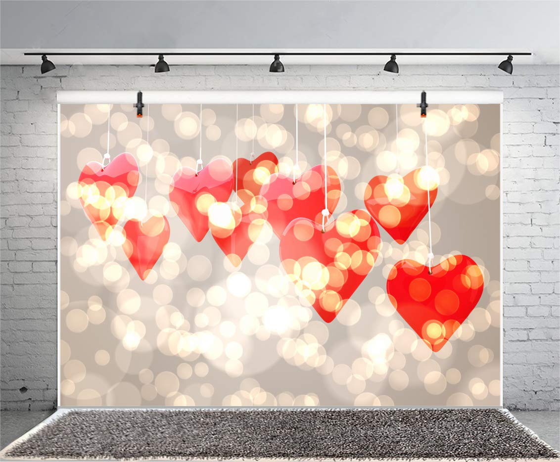 Haoyiyi 10x8ft Valentines Day Backdrop Red Hearts Bokeh Glitter Sequin Shining Blur Background Photography Photo Baby Kids Girls Mothers Day Bachelor Party Window Portraits Decoration