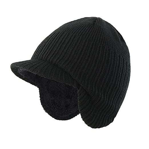 eee75b95e7c Home Prefer Toddler Boys Winter Hat Fuzzy Rib Knitted Kids Hat with Visor Earflaps  Hat Black