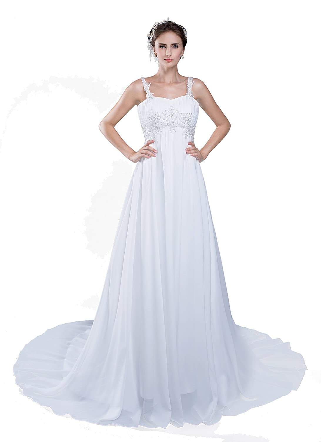 KekeHouse?Women Bridesmaid Wedding Dress Pleated Floral Long Chiffon Prom Dress with Straps Formal Evening Dress White Party Dress Lace Up