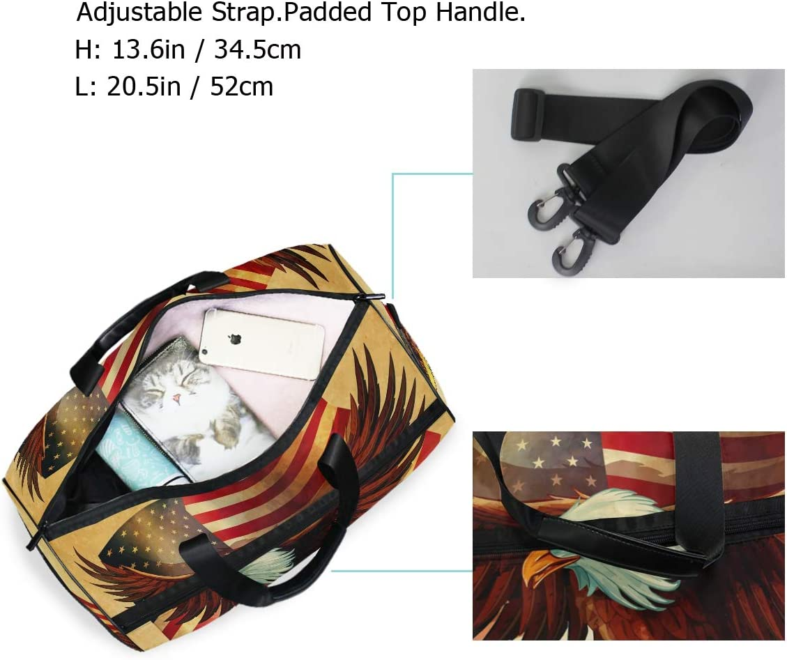 Eagle Bird Animal Sports Gym Bag with Shoes Compartment Travel Duffel Bag for Men and Women