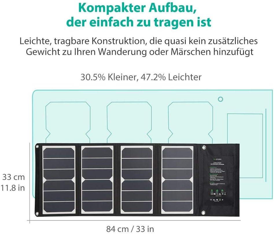 RAVPower 24W Solar Ladeger/ät mit 3 USB iSmart-Port iPad wasserdicht f/ür Camping Wanderung Bergsteigerei f/ür iPhone Galaxy Series HTC usw. 21,5-23,5/% Umwandlungseffizienz General/überholt
