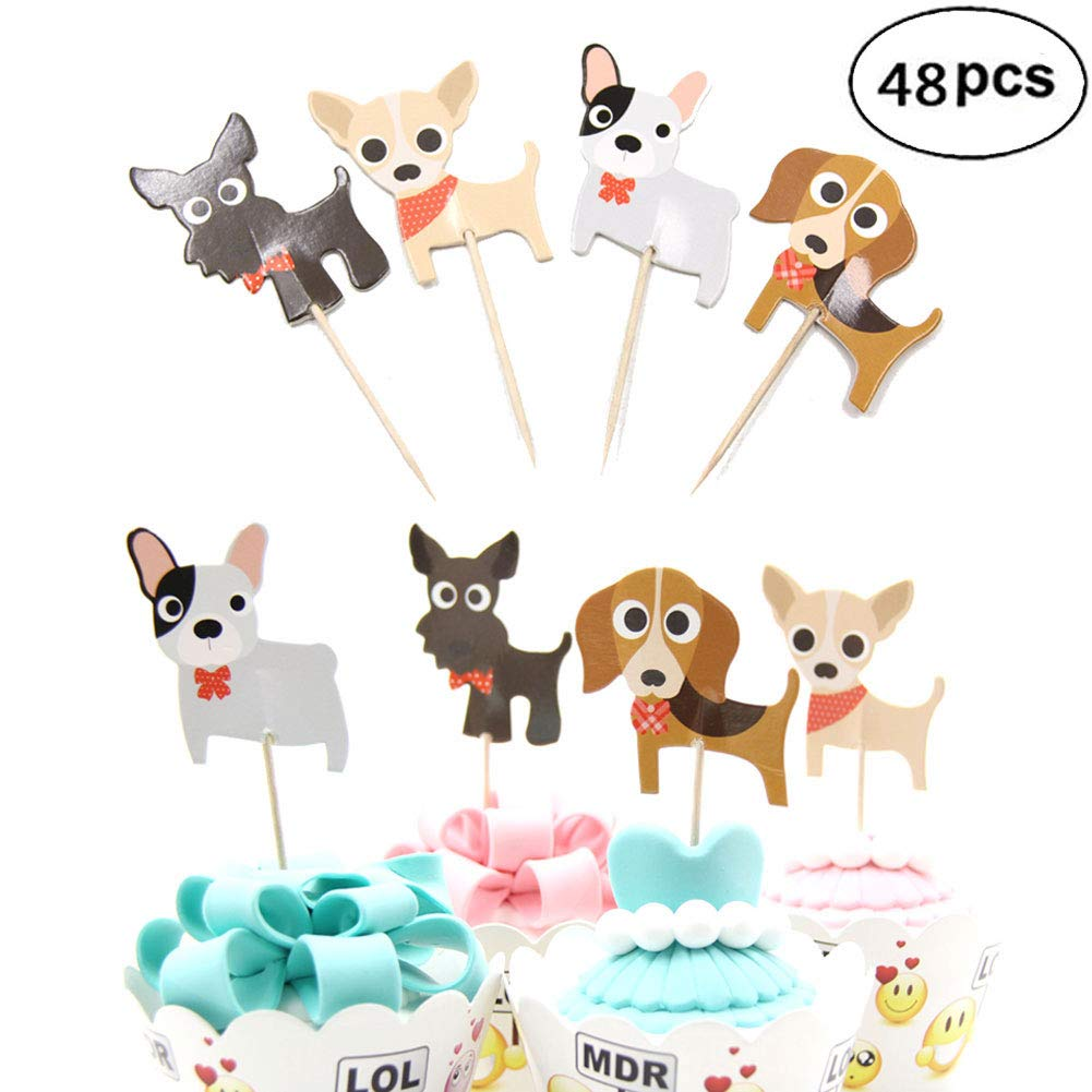 Cute Dog Cupcake Toppers Decorations Pick for Kids Birthday Party, Pet Themed Party, Pet Birthday Party (48 Pcs)