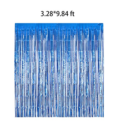 Blue Metallic Fringe (2packs 3.28x9.84ft Metallic Foil Fringe Shiny Curtains for Party Birthday,Event Decorations Door Window Tinsel (blue))