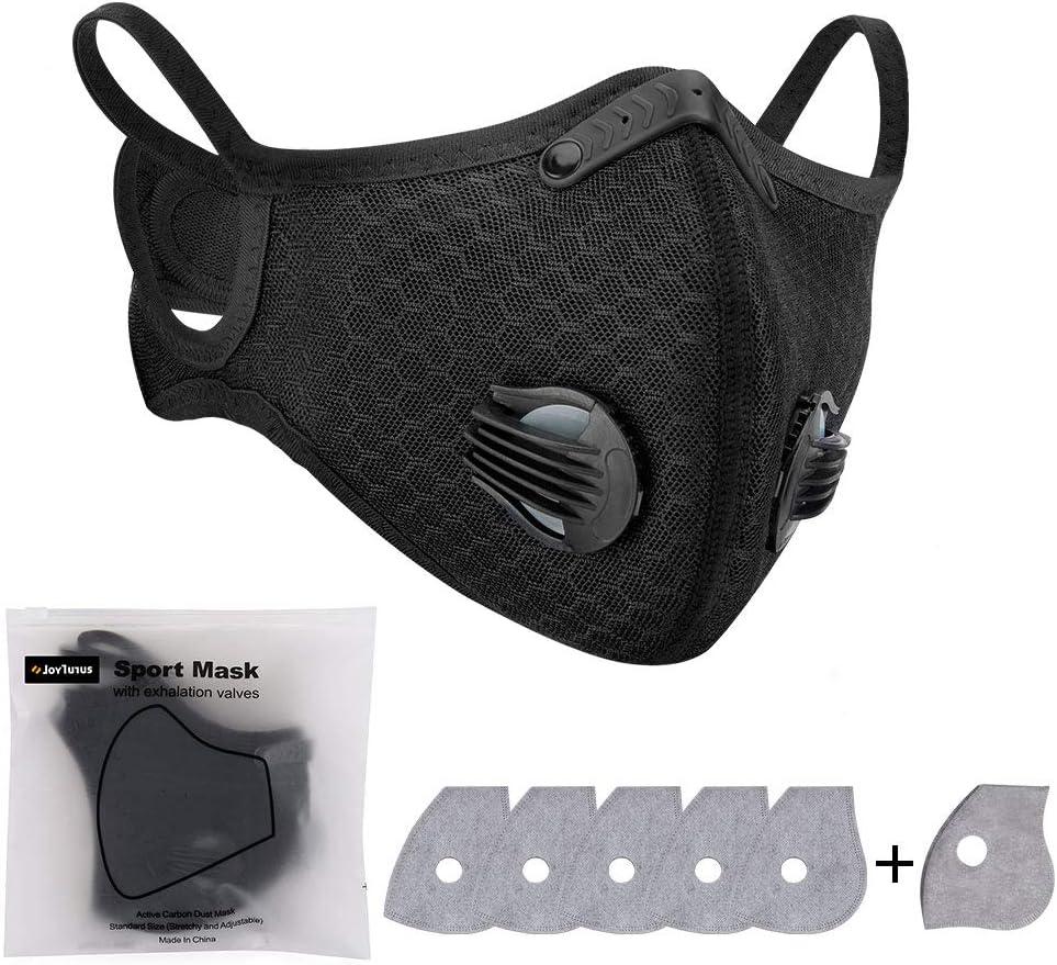 1 PC Cubreboca de Ciclismo Anticontaminación con 6 Filtros de Carbón Activado, Protector Faciales Lavables para Deportes al Aire Libre