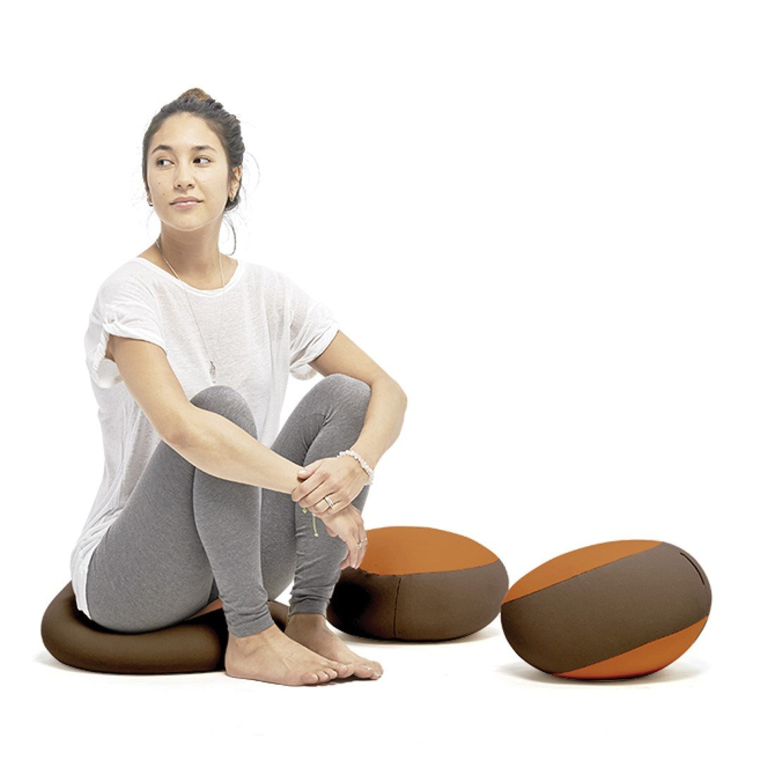 Terapy - RINGO Relax Indoor Yoga- und Meditations- Sitzkissen, 20x20cm, braun / Orange