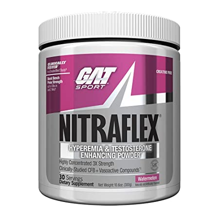 GAT – NITRAFLEX – Testosterone Enhancing Powder, Increases Blood Flow, Boosts Strength and Energy, Improves Exercise Performance, Creatine-Free Watermelon, 30 Servings