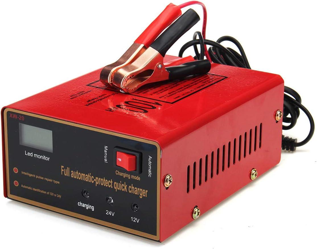 MXBIN Cargador de batería rojo de plomo de la motocicleta del coche de 12 / 24V 10A 140W por completo automáticamente Nueva decoración de repuestos