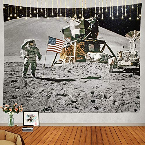 Shrahala Astronaut Tapestry, a Trip to The Moon Or Le Voyage Wall Hanging Large Tapestry Psychedelic Tapestry Decorations Bedroom Living Room Dorm(51.2 x 59.1 Inches, Grey 2)