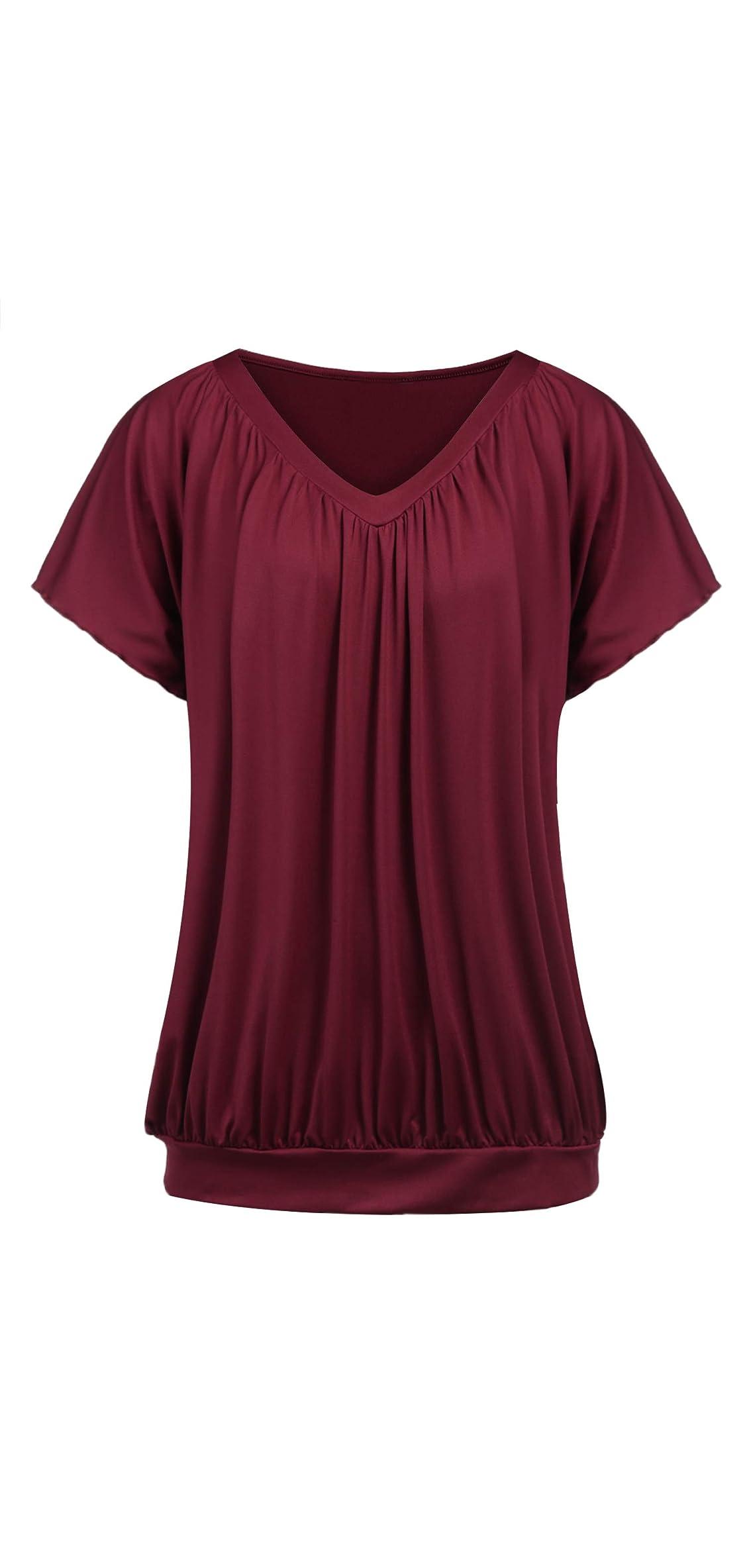 Women Plus Size Blouse Short Sleeve V Neck Blouse Top