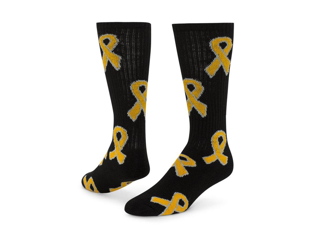 レッドライオンゴールドリボンChildhood CancerソックスKnee High Socks (ブラック/ゴールド – Small ) B00OS969SG