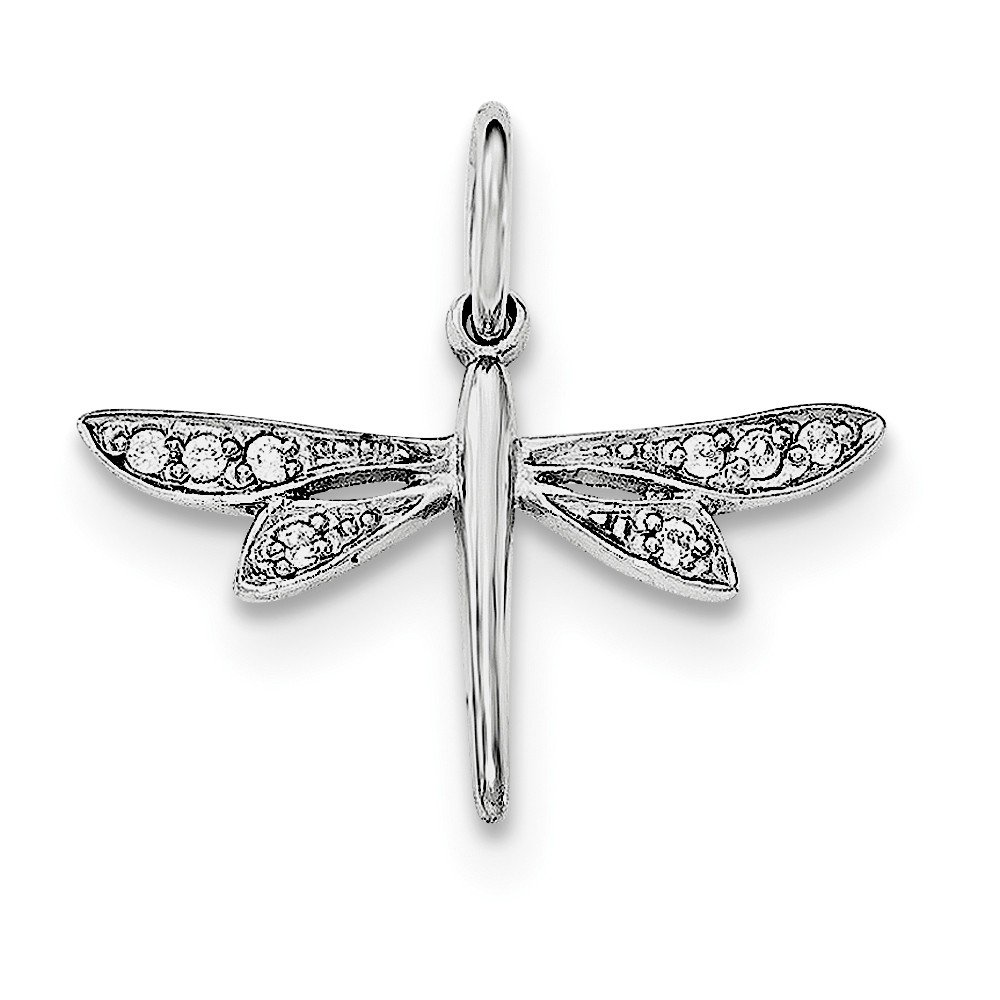 Sonia Jewels Sterling Silver CZ Cubic Zirconia Dragonfly Pendant
