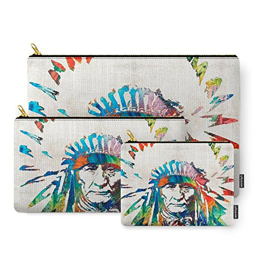 Society6 Native American Art - Chief - By Sharon Cummings Carry-All Pouch Set of 3 (Native Indian Makeup)