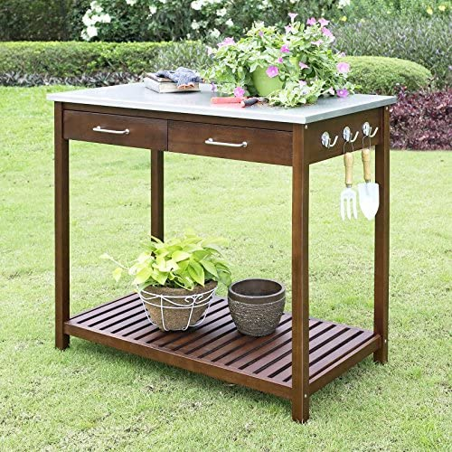 Galvanized Zinc Work Top Surface Potting Table Made of Solid Acacia Wood with Slatted Bottom Shelf, Three Double Prongs Hanging Hooks For Tools – 39W x 22D x 36H in.