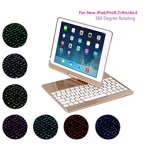 Ginamart ABS Keyboard Case for New iPad 2017 / iPad Pro 9.7, 360 Degree Rotating 7 Colors LED Backlit Wireless Bluetooth Keyboard Case Cover for New iPad/Pro9.7/Air/Air 2 (Gold) by Ginamart