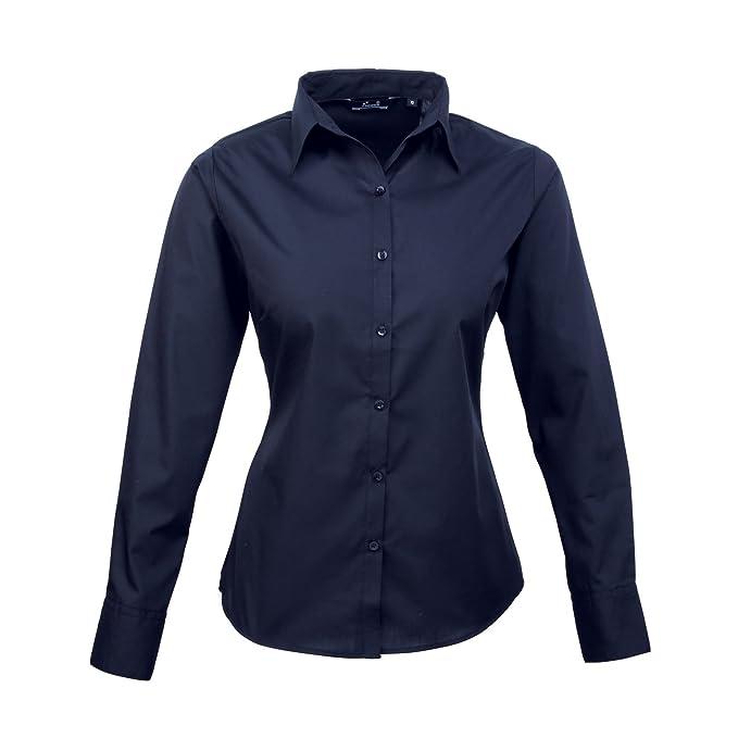 be0794bba99 Camisa de popelina de manga larga para mujer Azul azul marino 8  Amazon.es   Ropa y accesorios