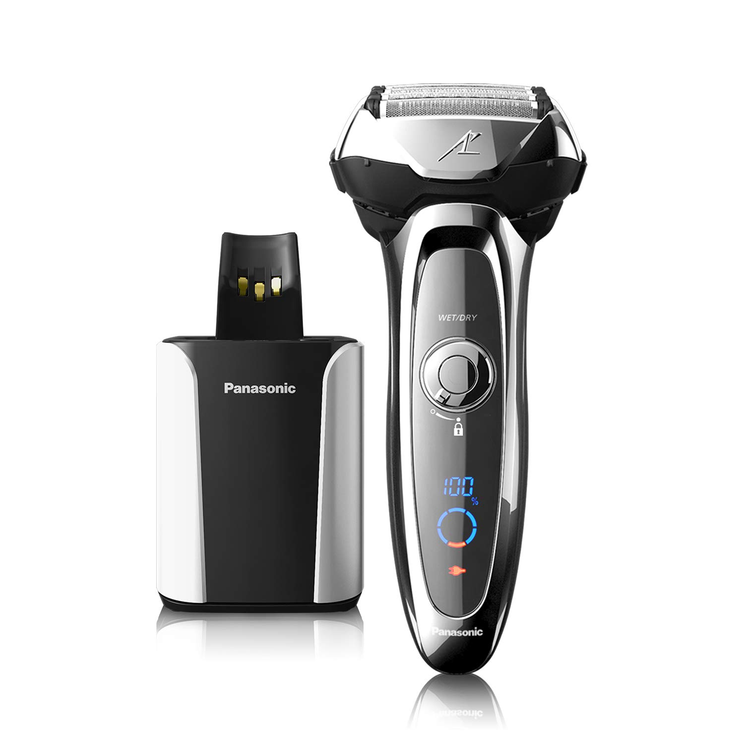 Panasonic ARC5 Electric Razor For Men, 5 Blades Shaver & Trimmer, Shave Senor Technology, Automatic Clean & Charge Station, Wet Dry - ES-LV95-S by Panasonic