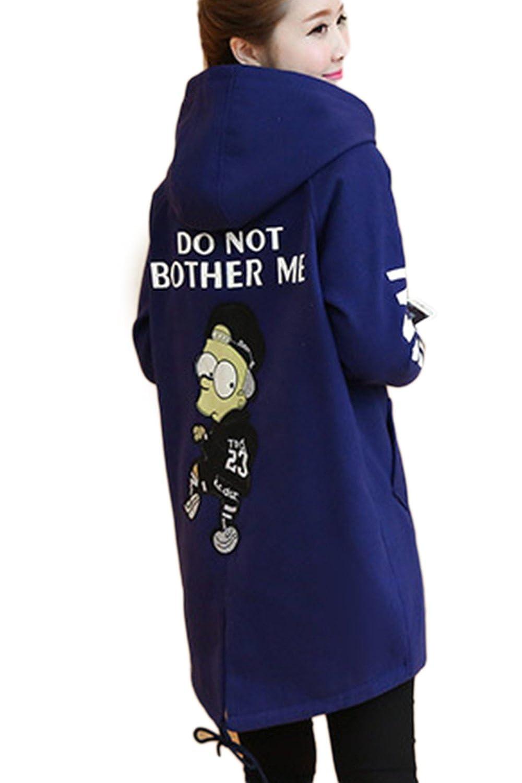 Women's Casual Long Sleeve Thicken Cartoon Print Hooded Midi Woolen Outwear