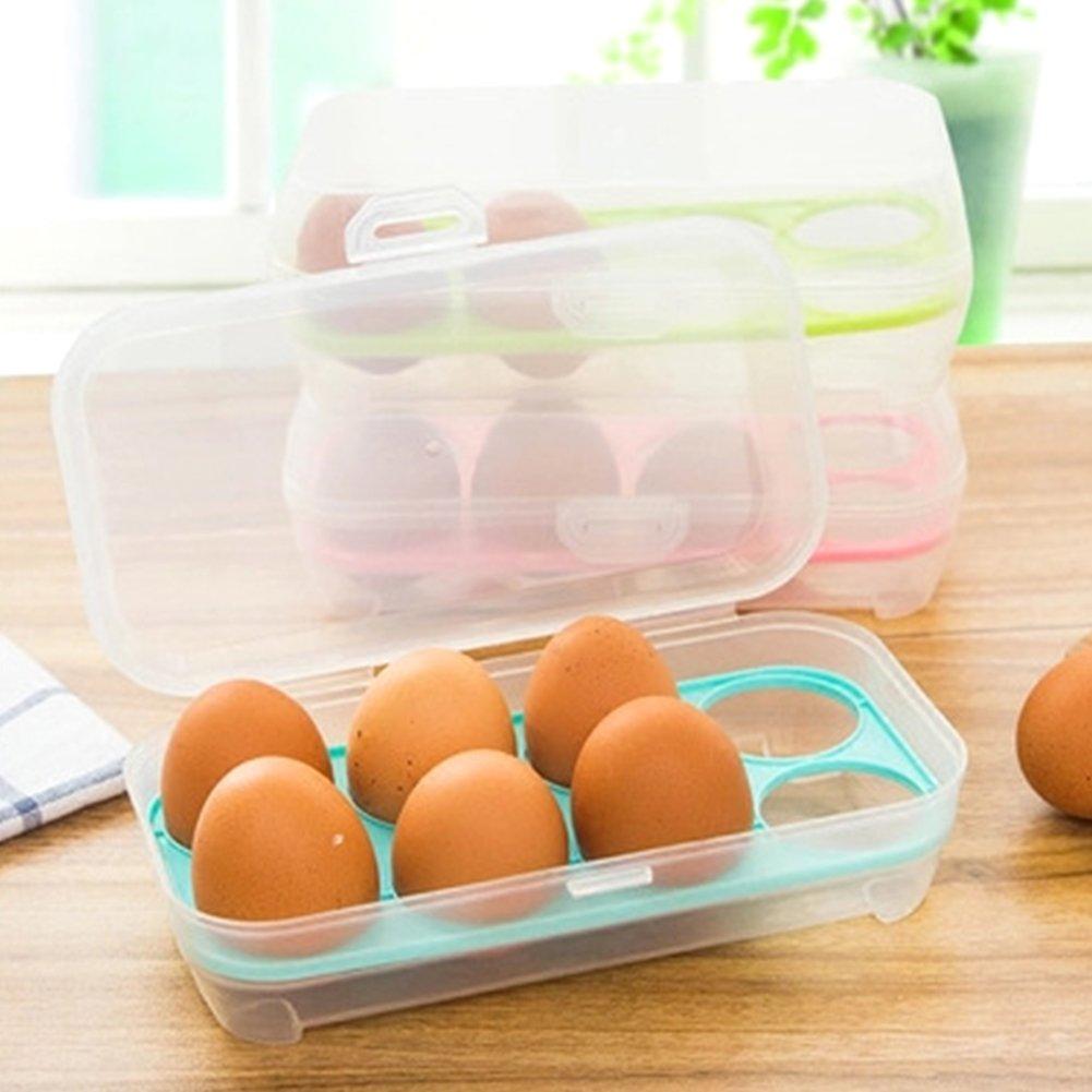 JAMOR 8 Grid Egg Box Kitchen Egg Storage Box Refrigerator Egg Crisper Box Picnic Camping Necessary (Green) by JAMOR (Image #2)