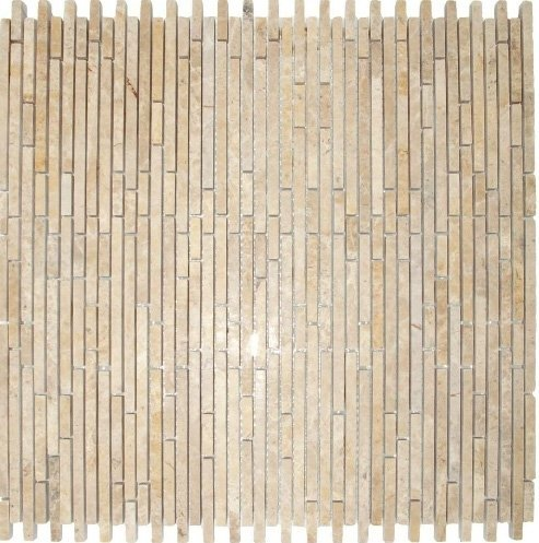 MS International Crema Ivy Bamboo Stone Pattern 12 in. x 12 in. Mosaic Polished Marble Floor and Wall Tile - LOT OF 50 TILES