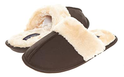 97df2c7efcf Seranoma Scuff Slippers for Women  Warm Cozy Faux Fur Ladies  House Shoes