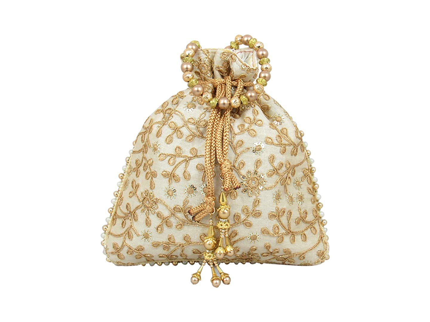 Bridal Clutch for Return Gift,Indian Bridal Purse for Party,Traditional Party Favor Bags,Potli Pouch for Wedding GoldGiftIdeas Gold Embroidered Bridal Potli Bags Set of 5