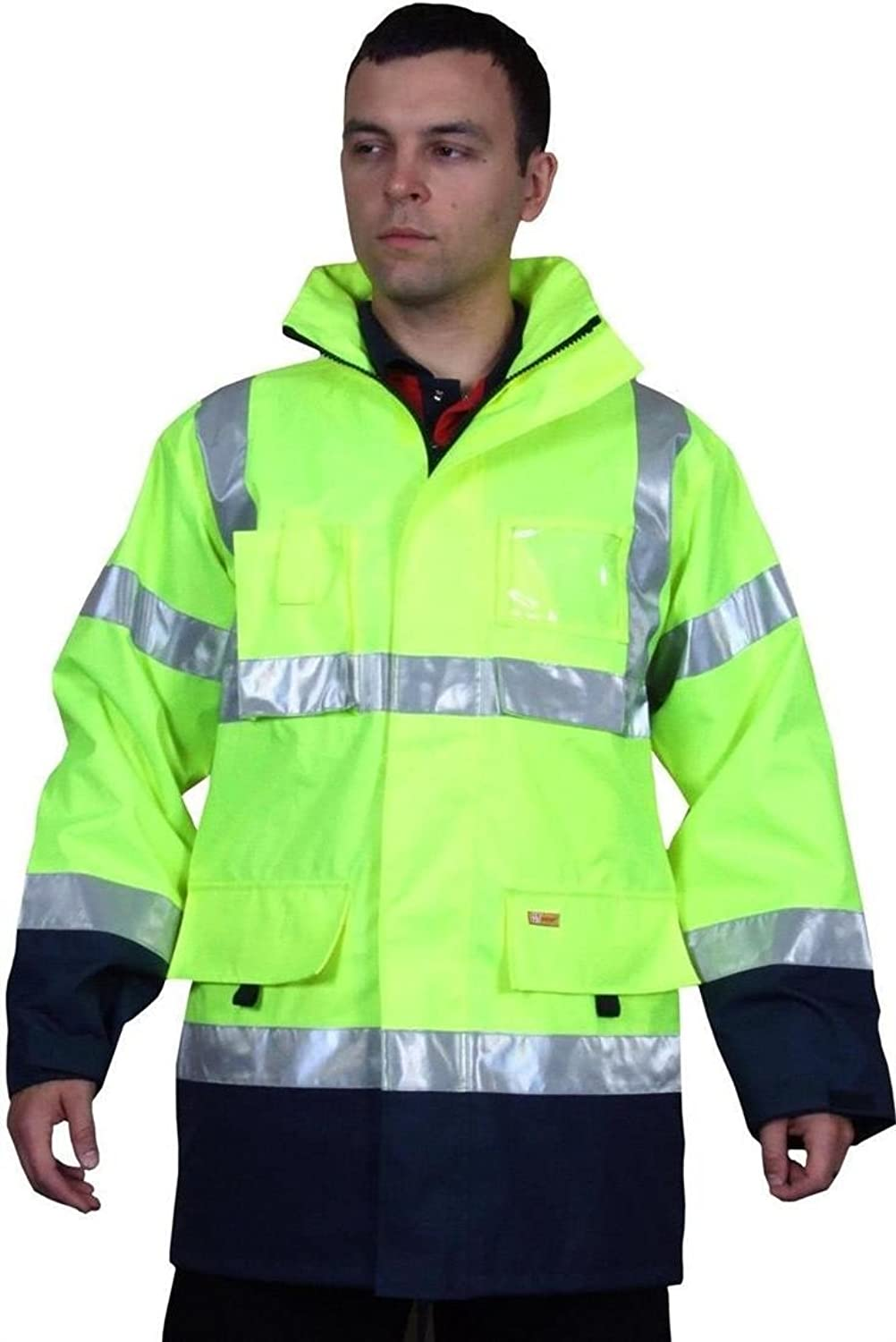 B-Seen Hi Vis Two Tone Breathable Traffic Jacket Yellow/Navy M
