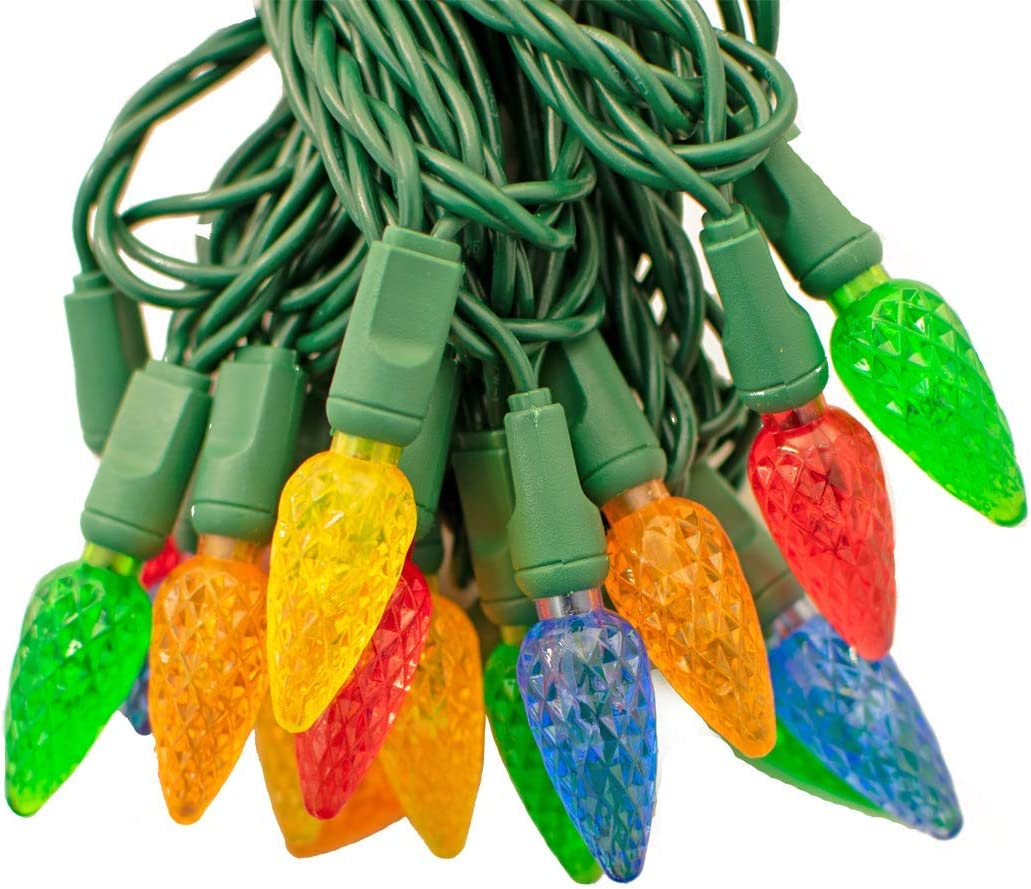 18FT Clear LED Warm White Christmas Lights C6 Green Wire Steady Light 35L 18/'