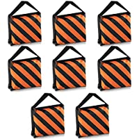 Neewer Set of 8 Black/Orange Sandbag Photography Studio Video Stage Film Sandbag Saddlebag for Light Stands Boom Arms Tripods