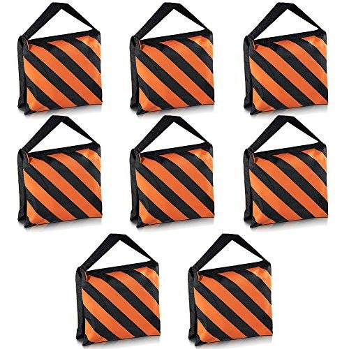 Neewer Set of 8 Black/Orange Sandbag Photography Studio Video Stage Film Sandbag Saddlebag for Light Stands Boom Arms Tripods by Neewer