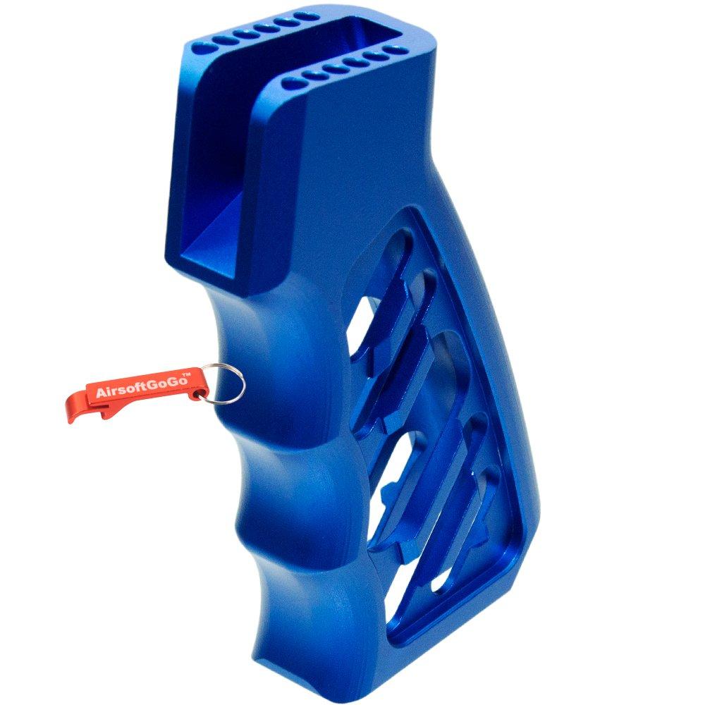 5KU Aleación CNC LWP Empuñadura para WA M4 Airsoft GBB (Azul) - AirsoftGoGo Llavero Incluido