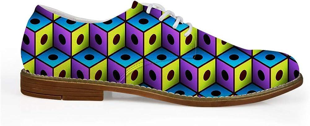 HUGS IDEA Bright Color Geometry Mens Cap Toe Oxford Lace up Classic Dress Shoes