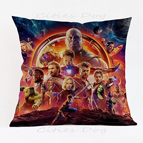 17.3 X 17.3 inches Red Avengers Superheroes Decorative Pillowcase, Blue Villain Thanos Throw Pillow Cover Ironman Hulk Cushion Cover Thor Movie Character Gorgeous Square Plain Woven, Polyester