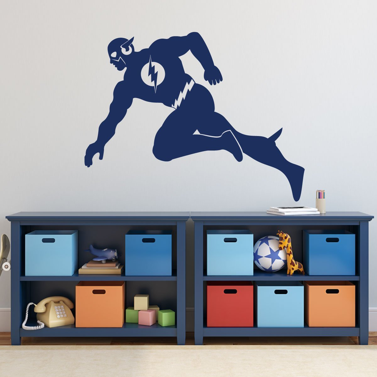 The Flash Superhero Decorations - Personalized DC Comics Figure Icon Vinyl  Wall Decor for Boy\'s Playroom, Bedroom, or Gameroom - Baby Nursery Design