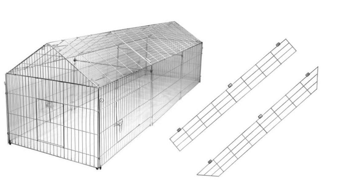 Hühnergehege freilaufgehege mit ausbruchsperre 440 x 103 x 103 cm freigehege für
