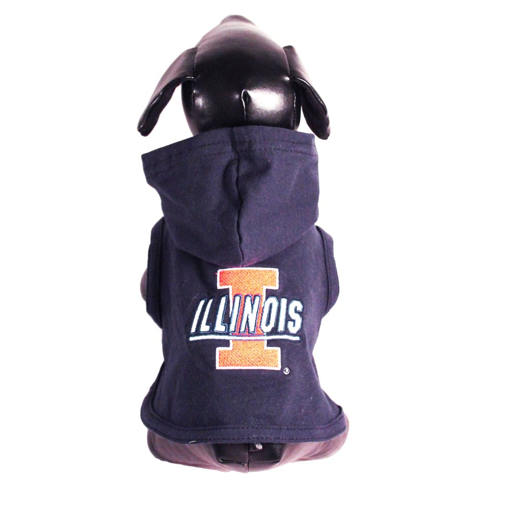Tiny All Star Dogs Illinois Illini Collegiate Cotton Lycra Hooded Dog Shirt (Team color, Tiny) Navy orange