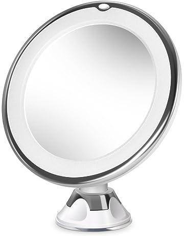 BEAUTURAL Miroir De Maquillage Grossissant Lumineux 10x LED Avec 1 Joint A Bille Et Ventouse