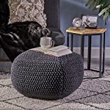 Joyce Knitted Cotton Square Pouf, Dark Grey
