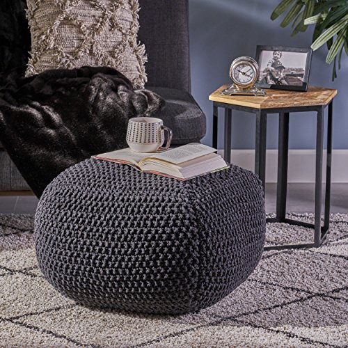 Christopher Knight Home Joyce Knitted Cotton Square Pouf, Dark Grey (Poofs Knitted)
