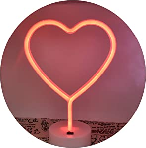 Neon Night Light Heart Shaped Red Lamp USB & Battery Powered Hanging Wedding Sign Novelty Indoor Lamps Decor Birthday Party Christmas Party Kids Room Living Room Bedroom or Bar…