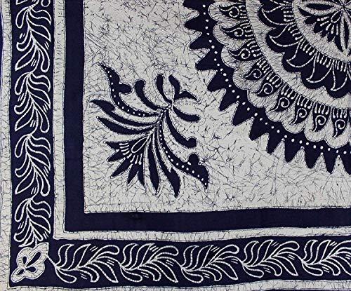 - Cotton Batik Mandala Tapestry Wall Hanging Bedspread Tablecloth Rectangular Beach Sheet Dorm Throw Full Blue 88 x 104 inches